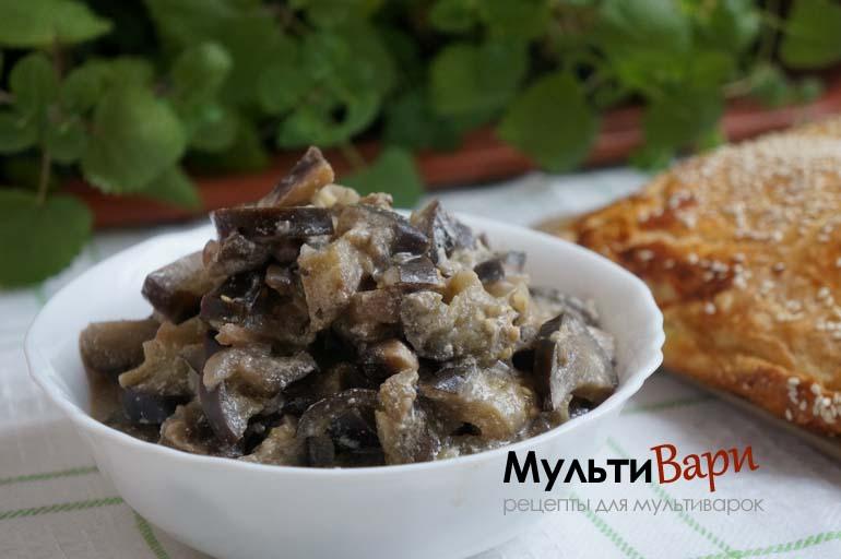 Баклажаны с грибами в мультиварке фото