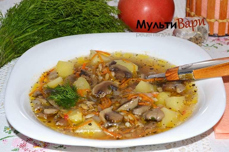 Грибной суп с перловкой в мультиварке фото