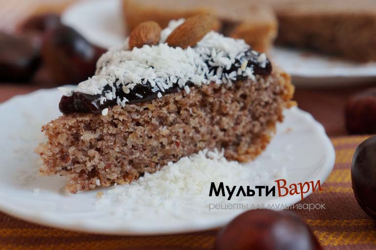 Диетический ореховый пирог без муки и масла в мультиварке фото