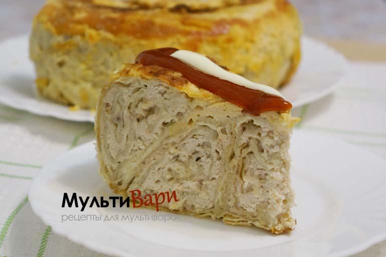 Быстрый пирог из лаваша с фаршем в мультиварке фото