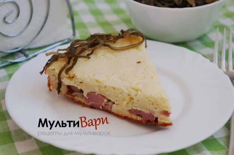 Пирог с сыром и сосиской в мультиварке фото