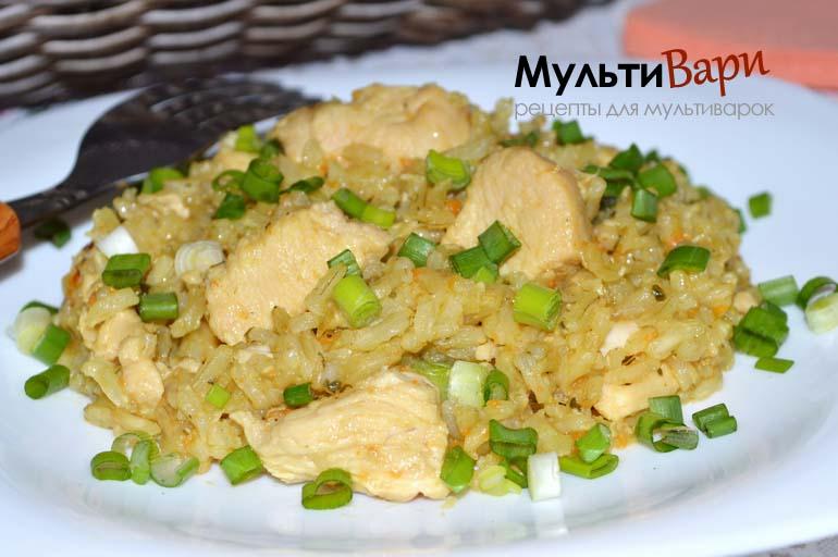 Рис шлифованный с овощами и куриным филе фото