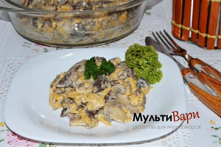Салат из сердца с грибами и сыром в мультиварке фото