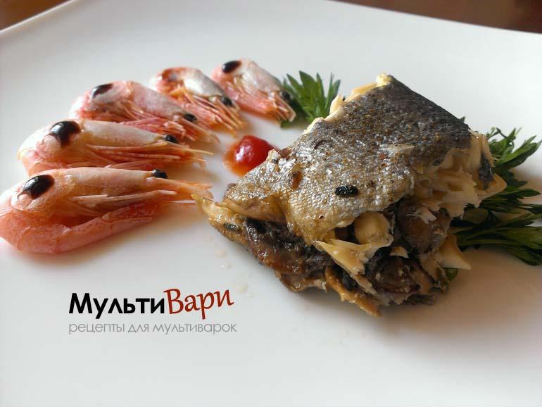 Рыба фаршированная грибами и креветками фото