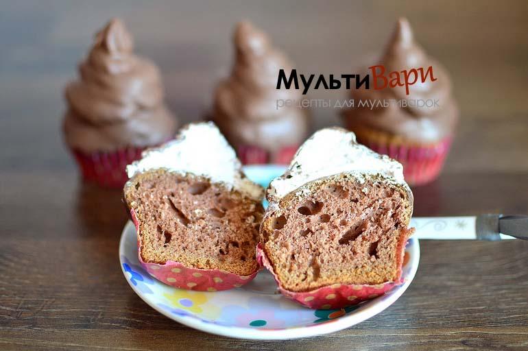 Рецепт капкейков с фото пошагово (Облака в шоколаде или Воздушный поцелуй) фото