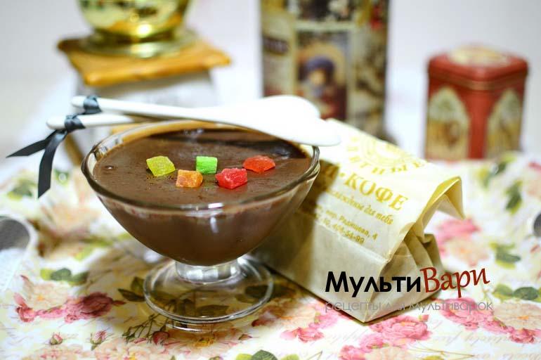 Шоколадный пудинг с кофе фото