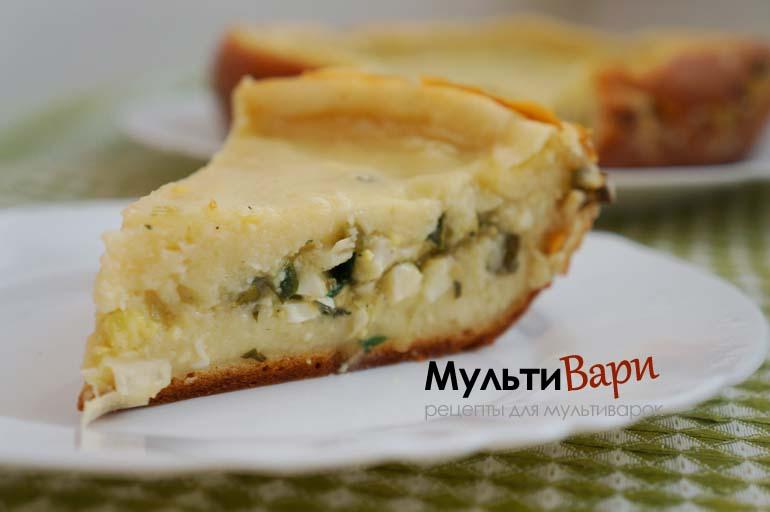 Пирог с зеленым луком и яйцом в мультиварке фото