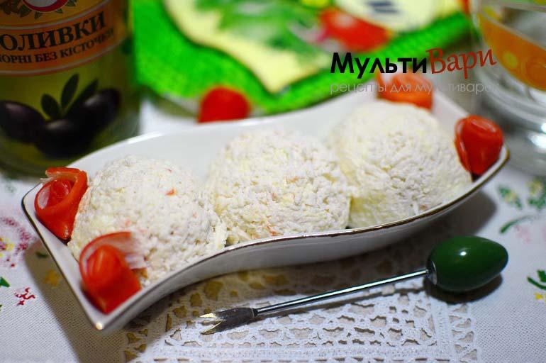 "Сырная закуска с крабовыми палочками ""Рафаэлло"" фото"